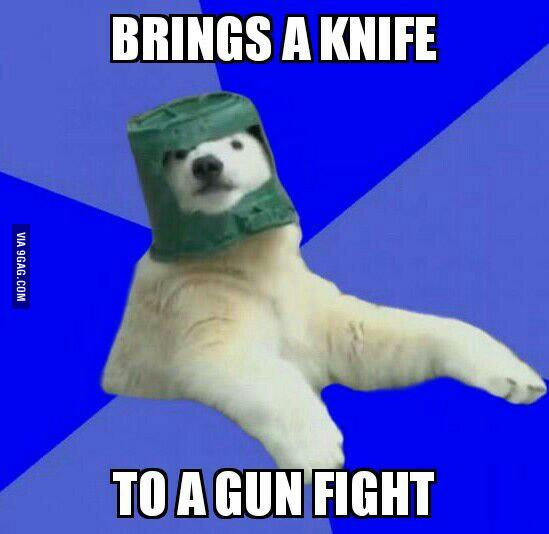 Brings A Knife To A Gun Polar Bear Meme