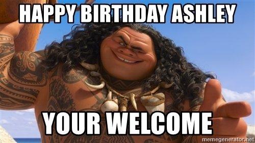 Happy Birthday Ashley Your Welcome Meme