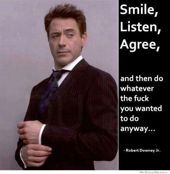Smile Listen Agree Robert Downey Jr Meme