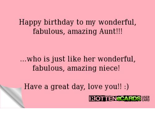 Happy Birthday To My Wonderful Fabulous Aunt Birthday Meme