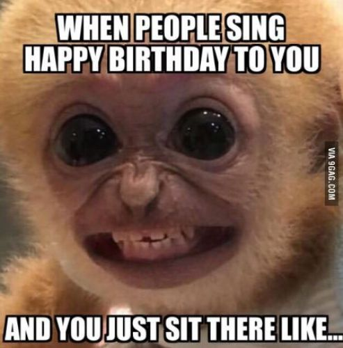 when people sing happy birthday to you and you just sit there like funny memes