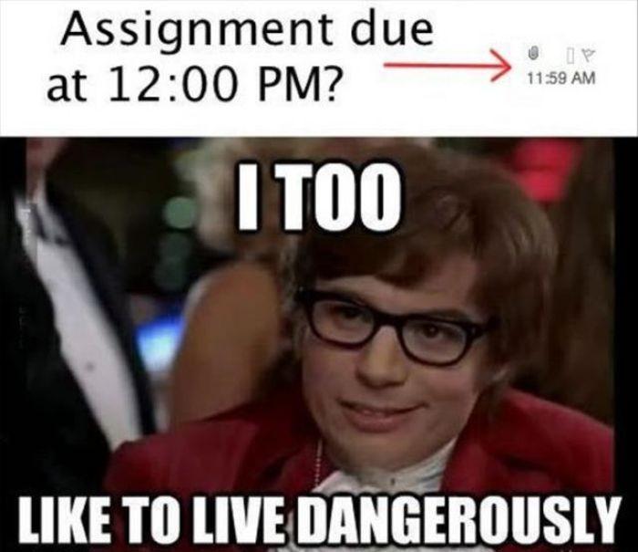I Too Like To Live Dangerously 100 Meme