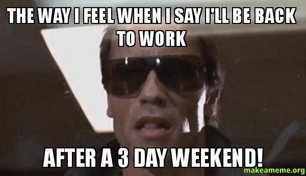 The Way I Feel When I Say I'll Be Back To Work After A 3 Day Weekend! 3 Day Weekend Meme