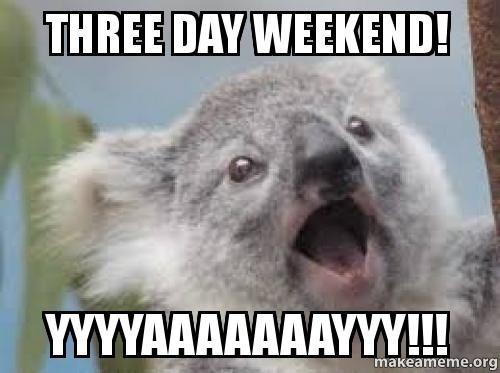 Three Day Weekend! YYYAAAAAAAYYY!!! 3 Day Weekend Meme