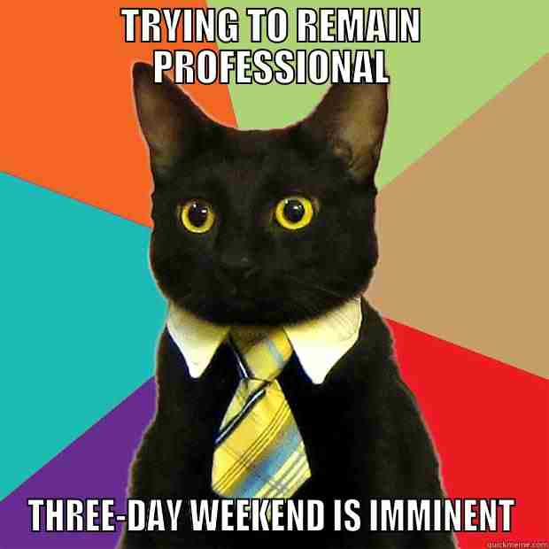 Trying To Remain Professional Three Day Weekend Is Imminent 3 Day Weekend Meme