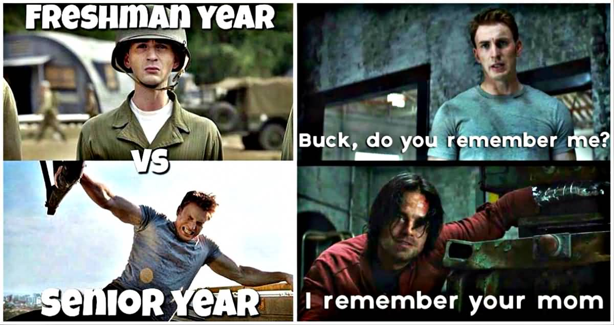FreshmanYear Vs Senior Captain America Meme