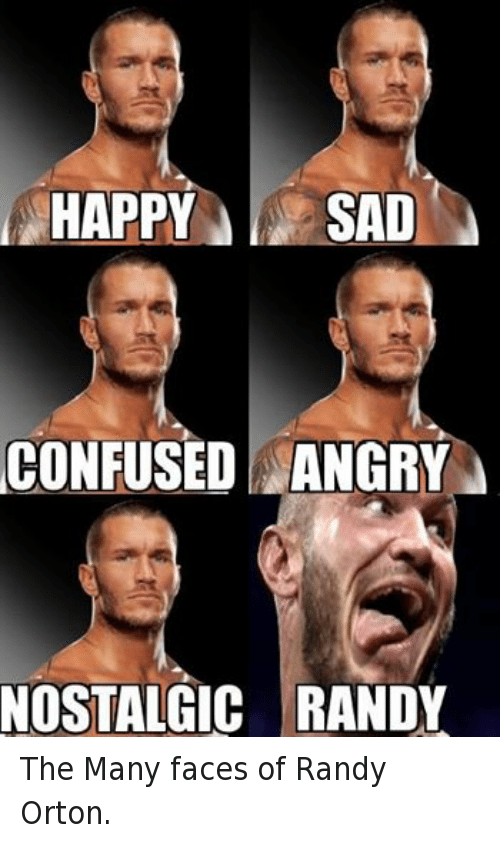 Happy Sad Confused Angry Randy Orton Meme