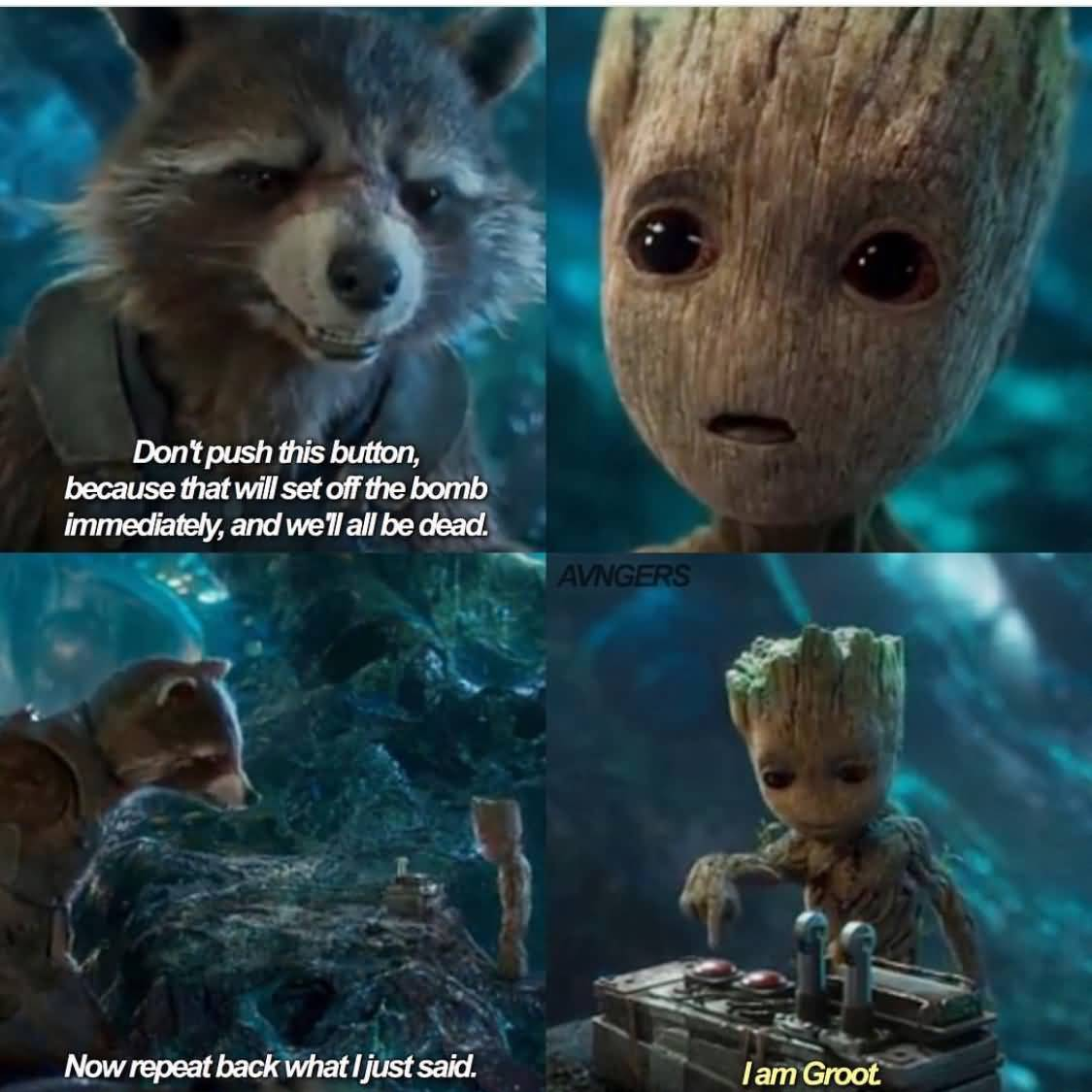 Don't Push This Button Groot Meme