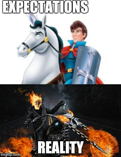 Expectations Reality Ghost Rider Meme