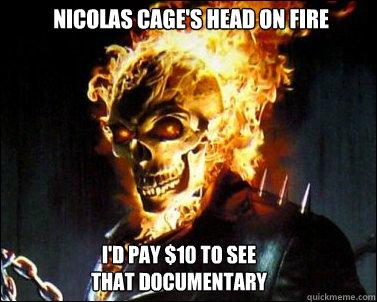 Nicolas Cage's Head On Ghost Rider Meme
