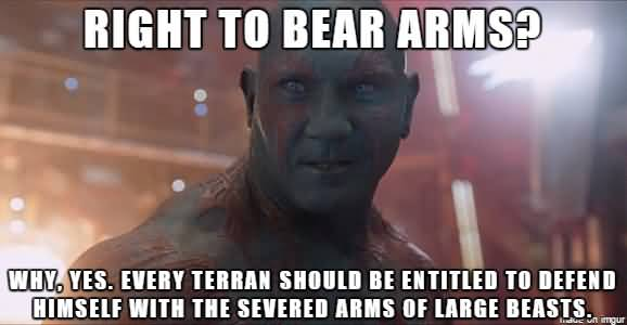Right To Bear Arms Drax the Destroyer Meme