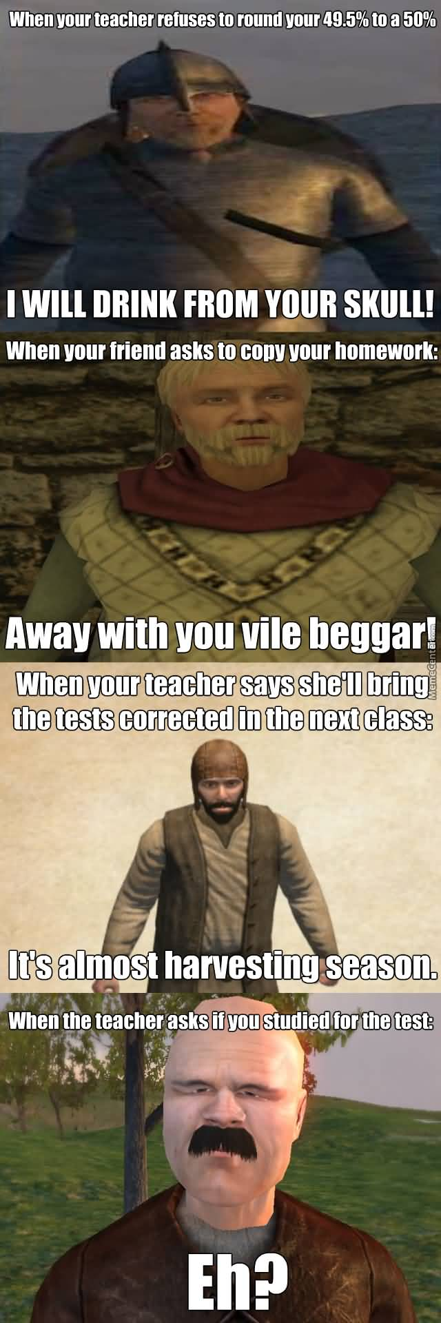 When Your Teacher Refuses Blade Meme