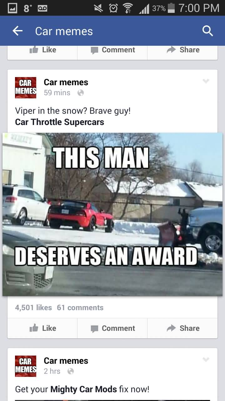 Viper In The Snow Car Memes Car Throttle